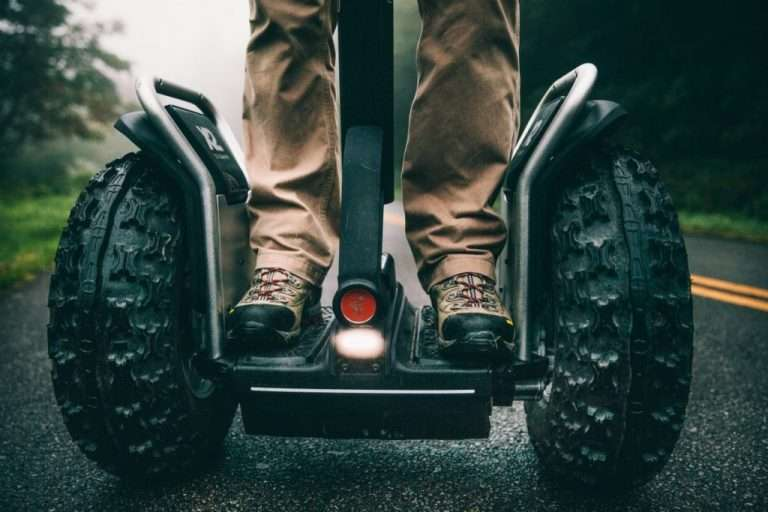 Close up of rider on a Segway experience at Woodlands Glencoe activity centre, Scotland