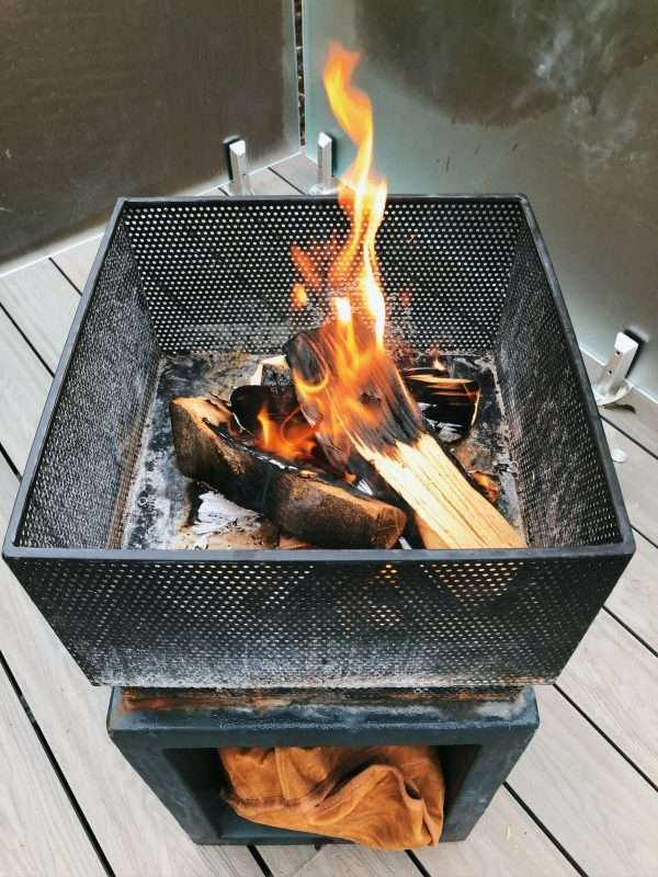 Fire pit package at cozy RiverBeds Luxury Wee Lodges with Hot Tubs, Woodlands Glencoe, Scotland