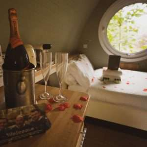 Romance package with rose petals champagne and chocolates at Woodlands Glencoe, Scotland